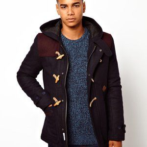 ASOS Bellfield Duffle Coat Navy & Burgundy…